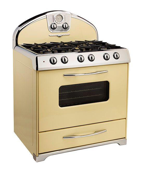 Vintage kitchen appliances are a unique kitchen remodel touch.