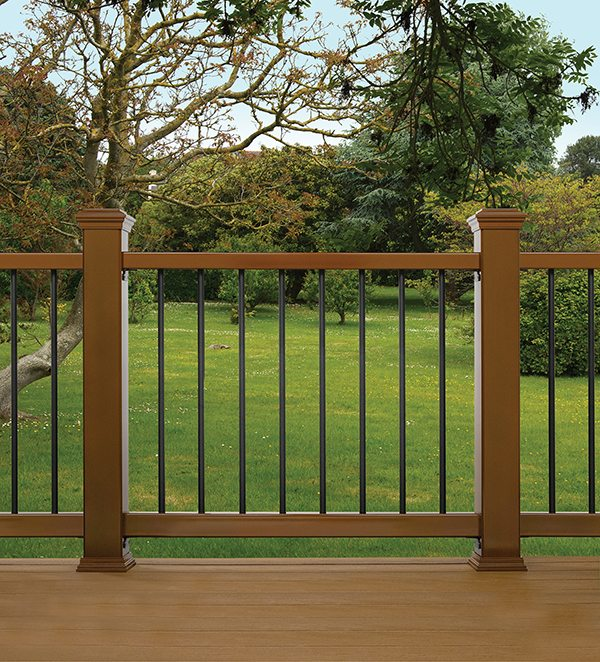 Pressure-treated structural rails and posts are required by code.