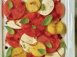 Watermelon Caprese Salad with Balsamic Vinegar Reduction