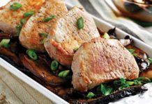 Pork Loin Chops with Sweet Balsamic Mushrooms