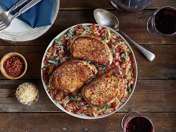 Dinner Recipe: Pork Chops in Creamy Roasted Garlic Florentine Sauce