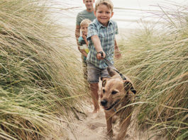 Family taking dog for a walk on beach | Family Life Tips Magazine