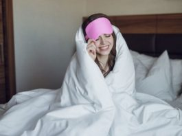 Wearing an eye sleeping mask for sleeping can help you get a better nights sleep