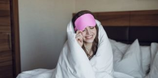Wearing an eye sleeping mask for sleeping can help you get a better nights sleep