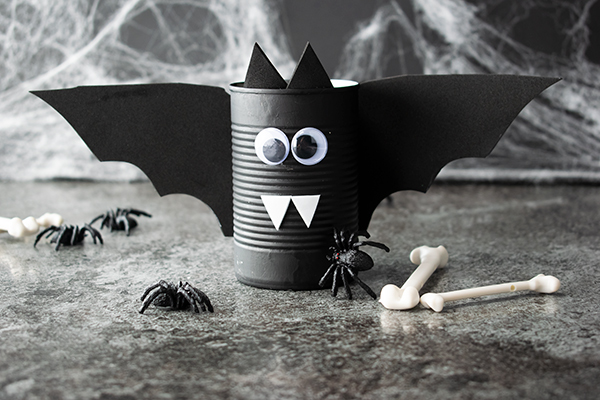 Spooky Soup Can Bat Halloween Craft Idea