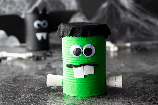 Spooky Soup Can Frankenstein Halloween Craft Idea