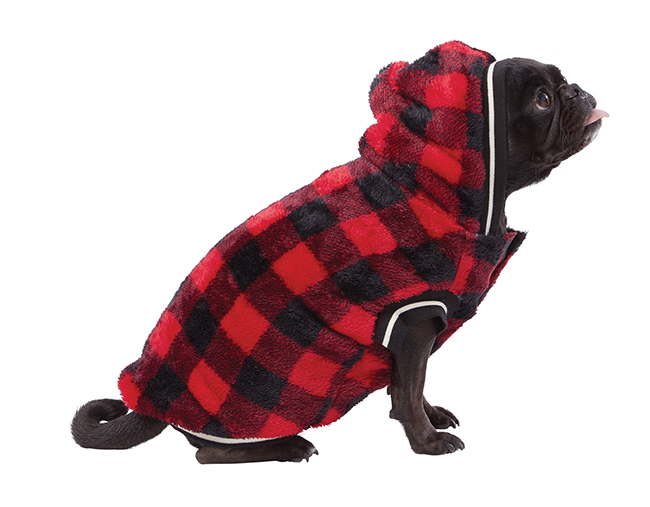 Top Paw Red Buffalo Checkered Fleece pet sweater